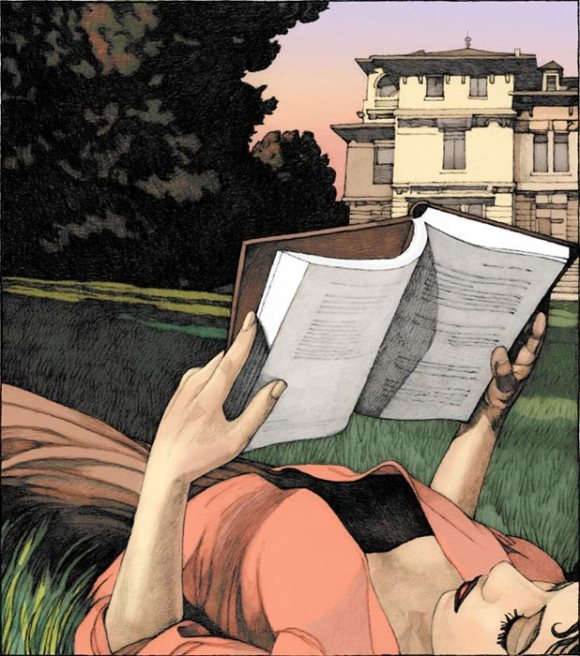 Girl Reading in Lawn by Miles Hyman